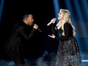 LAS VEGAS, NV - MAY 17:  Recording artists John Legend (L) and Meghan Trainor perform onstage during the 2015 Billboard Music Awards at MGM Grand Garden Arena on May 17, 2015 in Las Vegas, Nevada.  (Photo by Ethan Miller/Getty Images)