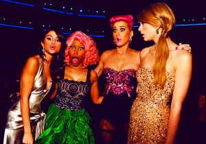 LOS ANGELES, CA - NOVEMBER 20:  (L-R) Singers Selena Gomez, Nicki Minaj, Katy Perry and Taylor Swift at the 2011 American Music Awards held at Nokia Theatre L.A. LIVE on November 20, 2011 in Los Angeles, California.  (Photo by Lester Cohen/AMA2011/WireImage)