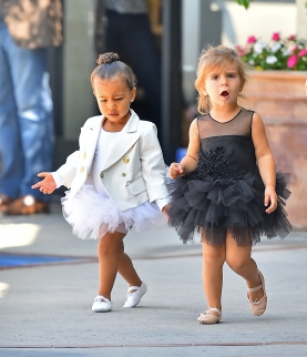 Penelope Disick and North West wear contrasting tutus to dance class